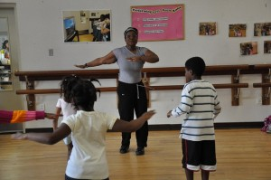 Children exercising in Zumba class